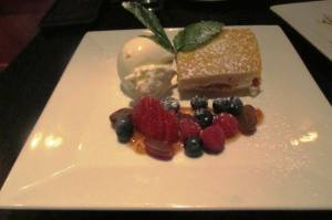 Olive Oil cake with fruit compote and marscapone
