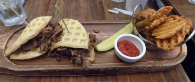 Cheesesteak Waffle Sandwich