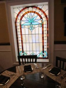 Dining room with stained glass windows