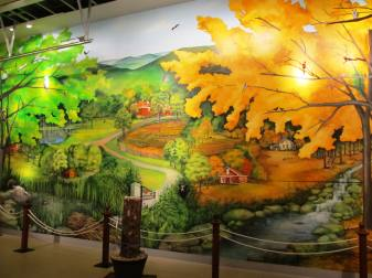 Mural  of the farm as seen on the tour